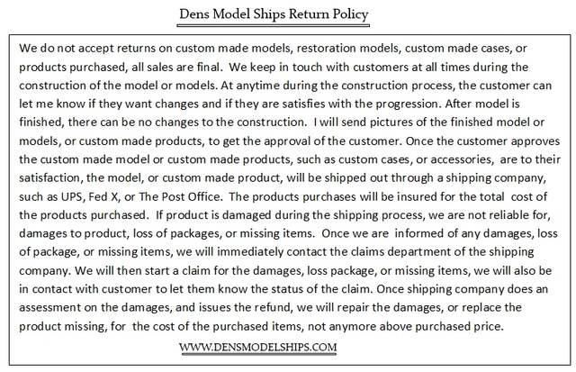 Dens Model Ships Return Policy